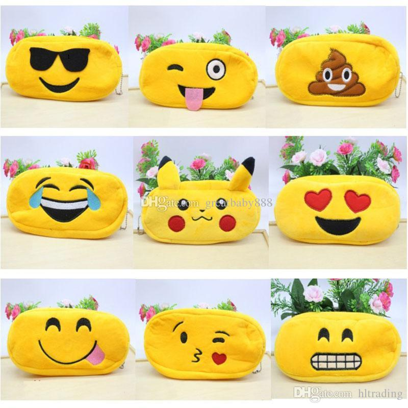 Emoji Pencil Bags Plush Zipper Cosmetic Bag 10 styles Pouch Writing Supplies Office School Stationery bag children Coin Purse C2305