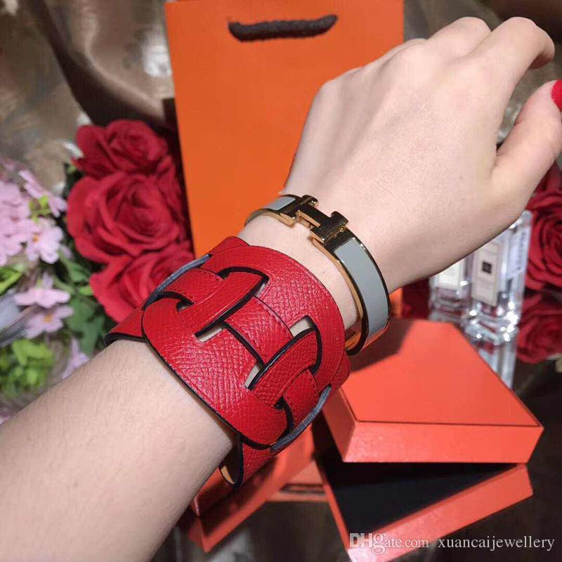 Latest fashion leather bracelet belt wide bracelet and popular couple H skin bangle bracelet wholesale