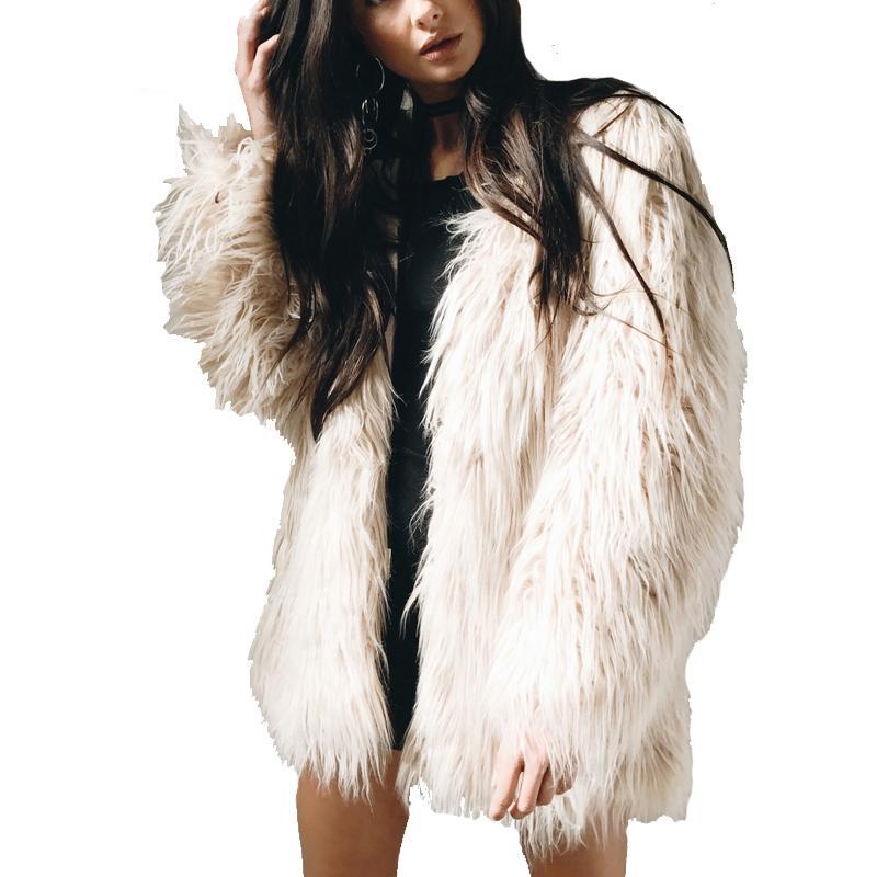 5cd6b1967b8 2019 Plus Size 3XL Faux Fur Coat Women Fluffy Warm Plush Oversized Jacket  Female Outerwear Chic Black Winter Long Hairy Overcoat 2017 From Brry