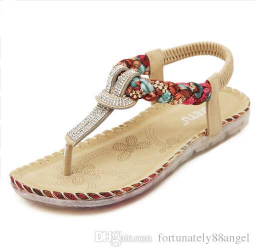 bde9a570bfe7 Summer Sandals Women T Strap Flip Flops Thong Sandals Designer Elastic Band  Ladies Gladiator Sandal Shoes Zapatos Mujer Jack Rogers Sandals White Wedges  ...