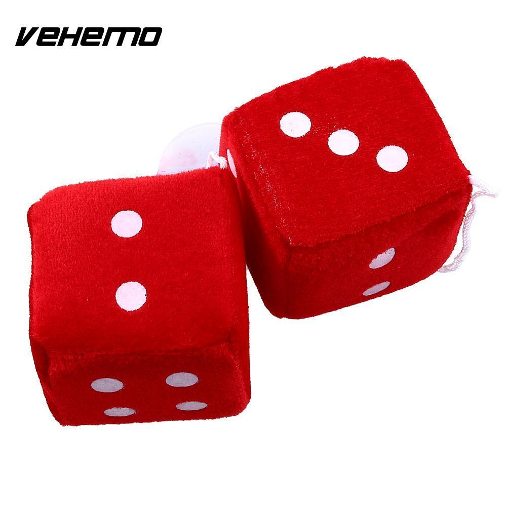 Vehemo Pair Red Fuzzy Plush Dice Dots Rear View Mirror Hanging Hangers  Vintage Car Accessories Car Styling