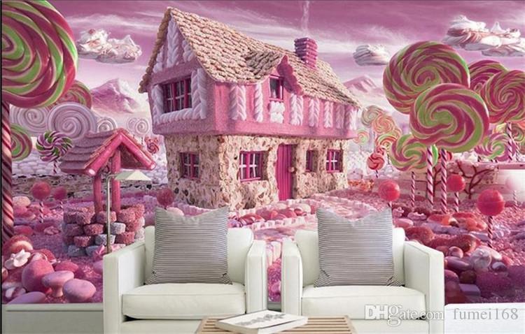 3d Wallpaper Custom Photo Wallpaper Kids Mural Glass Candy House Tv