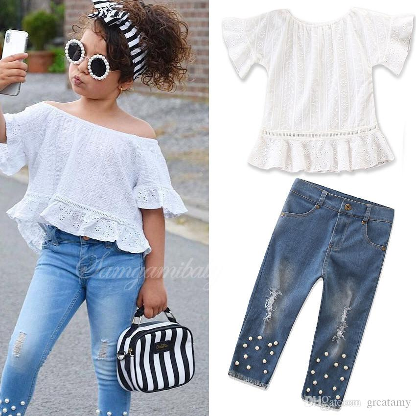 e92db8e0b045 2019 Baby Girls Autumn New Outfits Lace Short Sleeve T Shirt Blouse Shirt+Denim  Jeans Pants With Pearl Children Girl S Boutiques Sets Kids Suit From ...