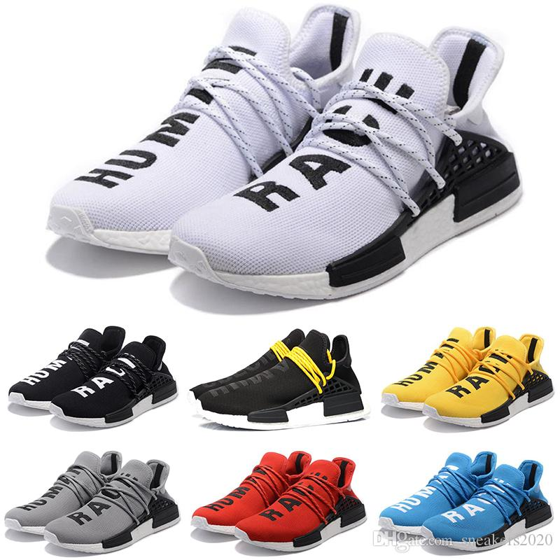 37a87d65c 2019 Cheap Human Race Running Shoes Men Women Pharrell Williams HU Runner  Yellow Black White Red Grey Blue Casual Sports Sneakers Size 36 47 From ...