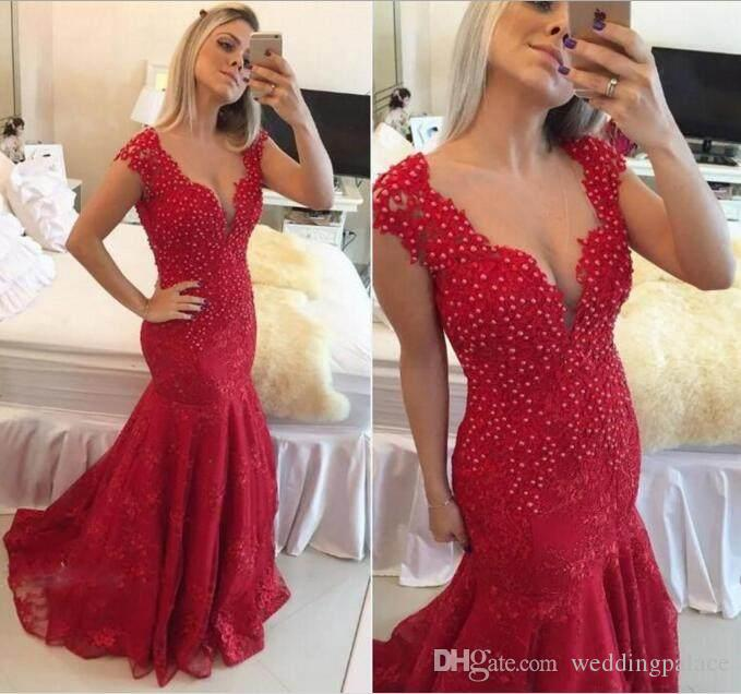 2018 Arabic Style Mermaid Prom Dresses Dark Red V-neck See Through Button Back Lace Pearls Cap Sleeves Reception Evening Dresses Gowns