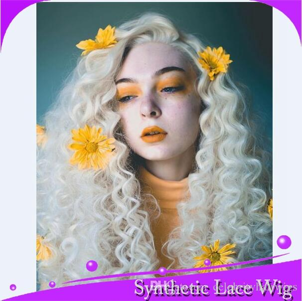 MHAZEL long kinky curly #60 white blonde synthetic front lace wig heat resistant fiber free part