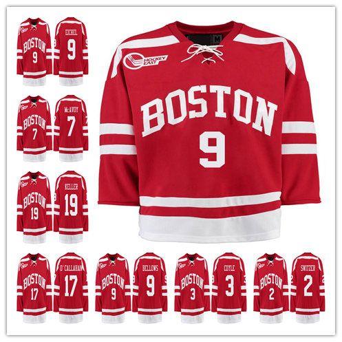 26d50f757 2019 Boston  9 Jack Eichel  7 Charlie McAvoy  19 Clayton Keller  17 Jack  O Callahan  9 Kieffer Bellows  3 Charlie Coyle Red College Hockey Jersey  From ...