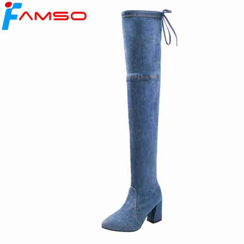 34002ee4e46a FAMSO 2018 Shoes Women Boots Back Hoof Heels Over The Knee Boots Pointed  Toe Blue Denim Two Style Winter Office Sexy Boot Ankle Boots From Tasehook,  ...