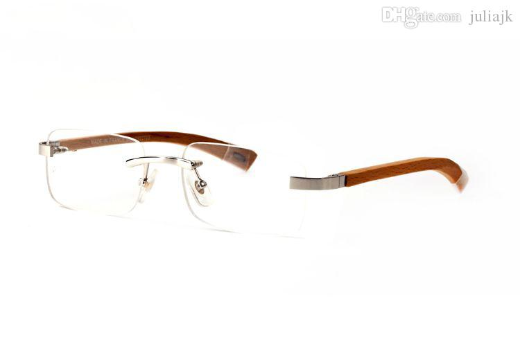 Fashion designer wooden sunglasses buffalo horn glasses rimless clear lens reading Anti Radiation optical frames glasses for men eyewear