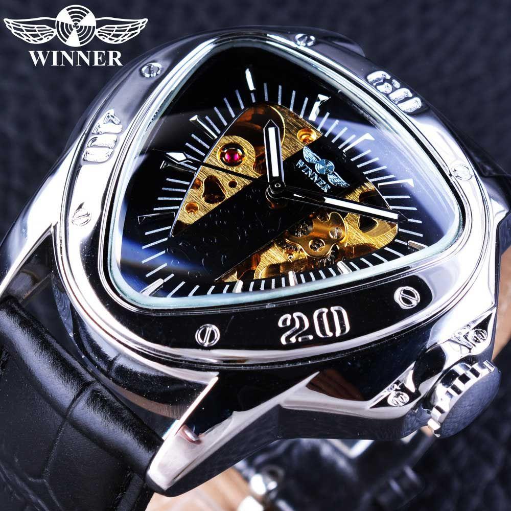 Mechanische Männer Uhren Mode Dreieck Zifferblatt Design Skeleton Uhr Luxusmarke Automatische Selbst Wind Armbanduhren Herrenuhren