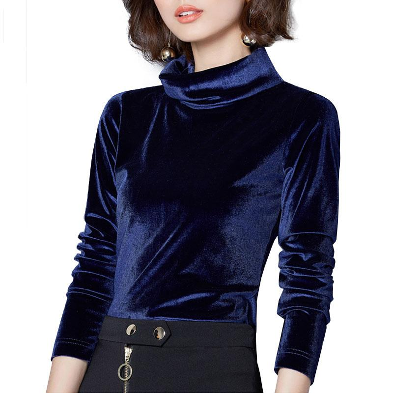 fef0f2e3a9b13 2019 New Women Velvet Blouses Long Sleeve Turtleneck Blusas 2018 Spring  Sexy Velour Shirts Blusas Top Plus Size Blouse Femme From Baicao