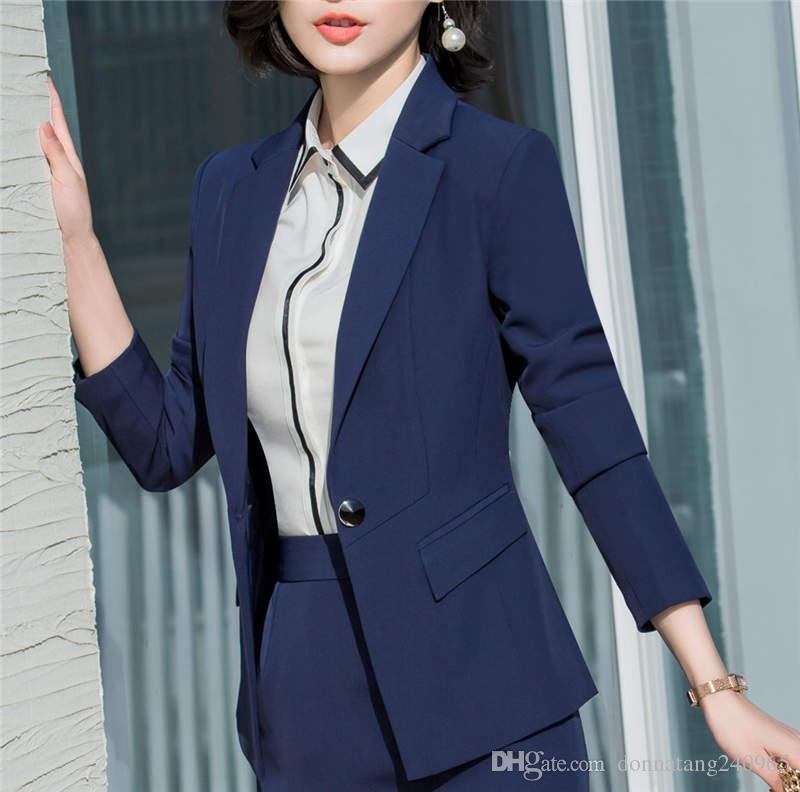 quality design 875c7 472f8 2018 Giacche da ufficio e giacche da donna blu nero giacche da donna slim  da ufficio in stile monopattino slim style