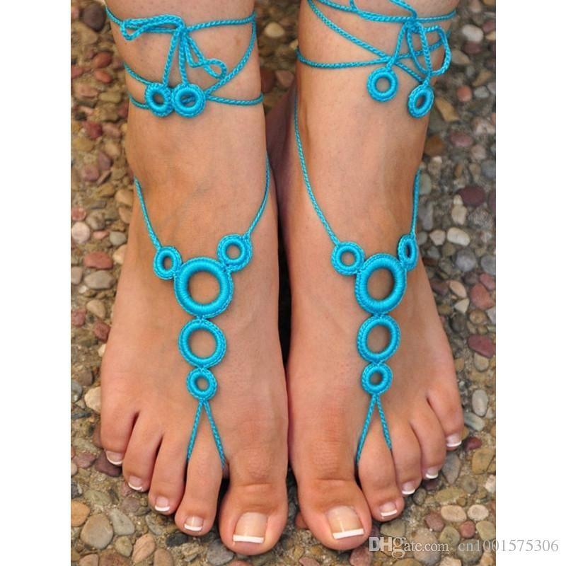 Mulheres Sexy Sapatos Brancos, Crochê Sandálias Com Os Pés Descalços Sapatos De Casamento-Ring- Nude Shoes sandálias de crochê