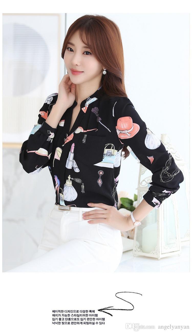 2018 Primavera Ocupación Camisa de mujer delgada Otoño Mujer de manga larga Gasa Blanco Negro Blusa de trabajo E377