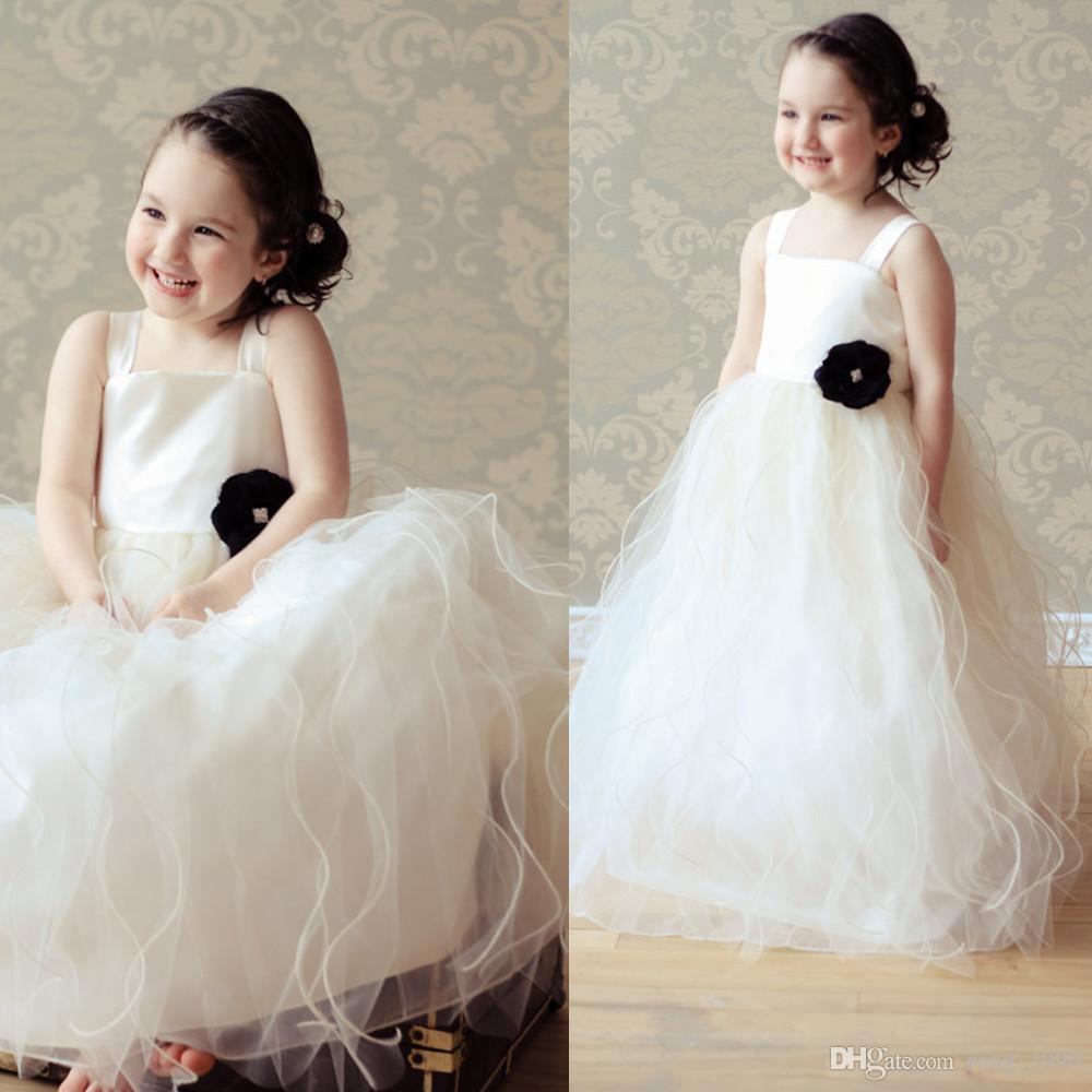 Rüschen-Zug-weißes Tulle-Blumen-Mädchen kleidet für Hochzeit 2018 Baby-Mädchen-Ballkleid-erste Kommunion reizendes Weinlese-formales ...
