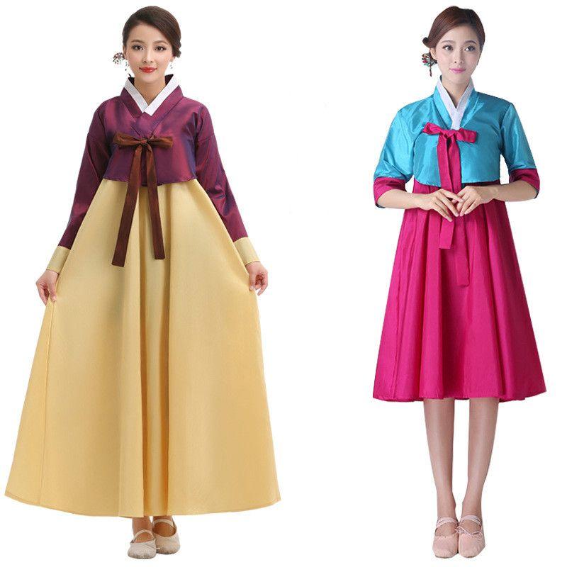 2019 Long Sleeve South Korean Traditional Costume Lady Hanbok Dress