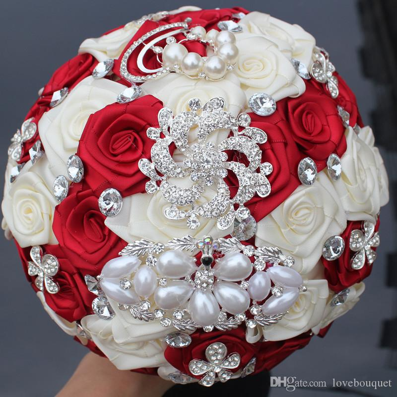 17cm Red And Milk White Wedding Flowers Crystal Pearl Peacock Brooch