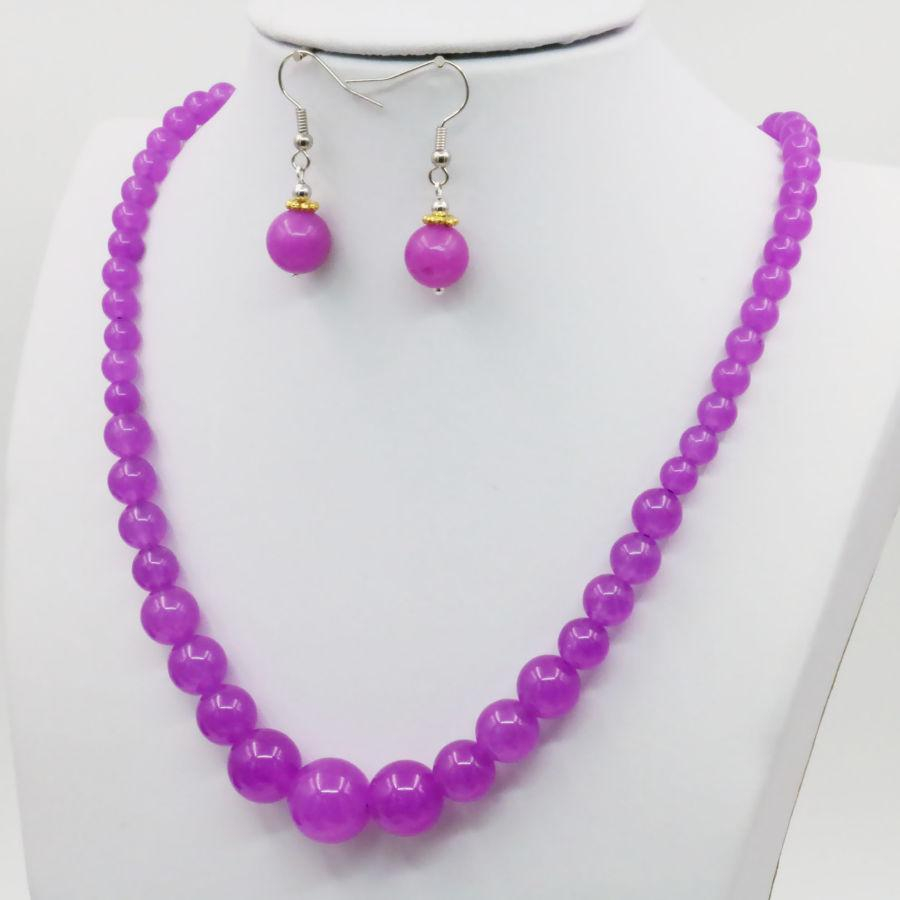 Hot Purple Violet Alexandrite 6-14mm Necklace Chain Earring Sets Beads Jewelry Party Wedding Gifts Wholesale 18inch Lucky Stone