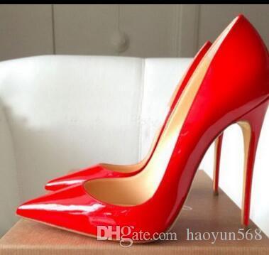Zapatos de boda de charol de tacón Pigalle MUJERES zapatos de boda puntiagudos tacones finos mujer sexy rojo Negro, tacones altos Púrpura, piel de oveja 35-44