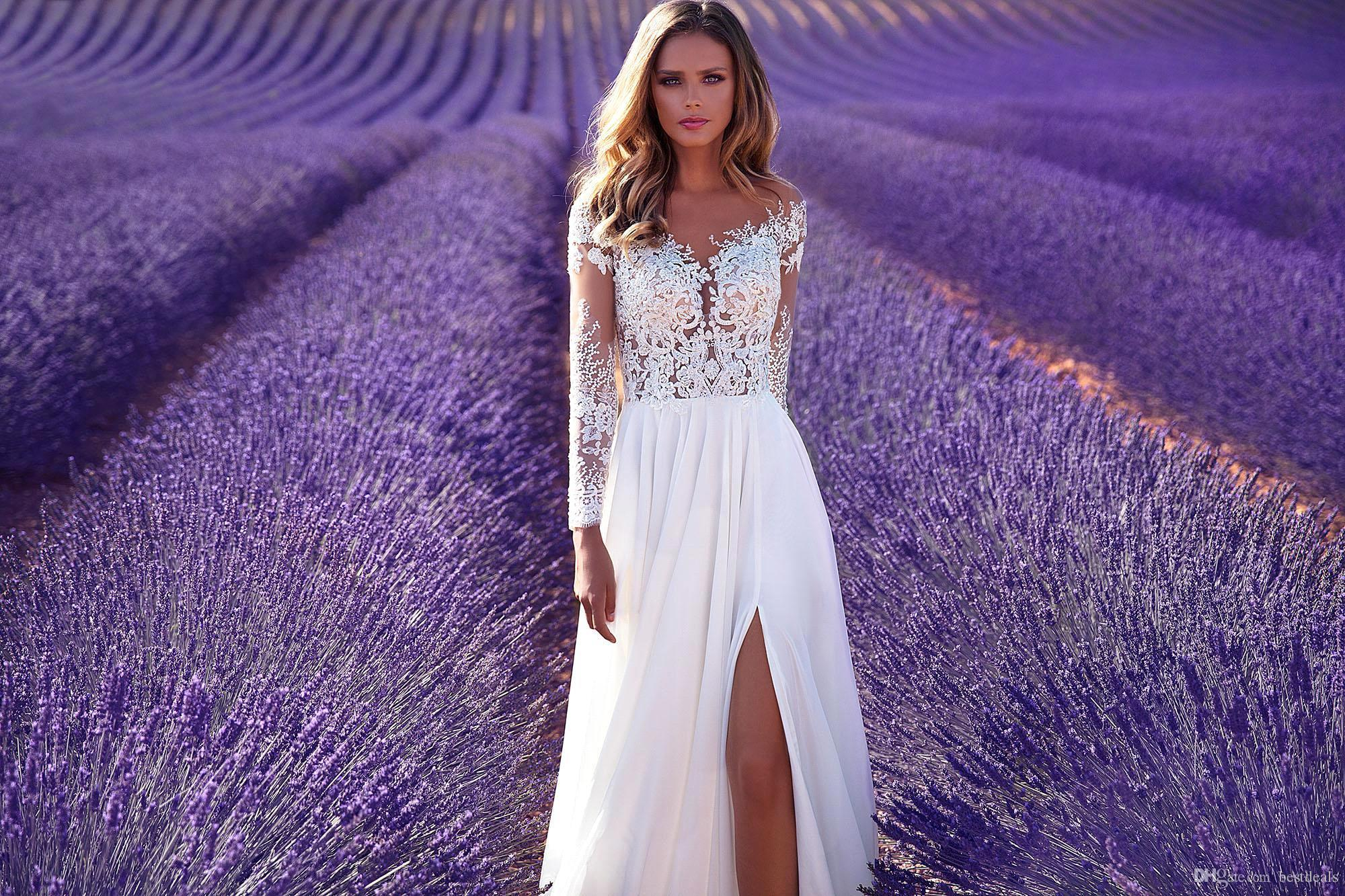Milla Nova 2018 Long Sleeves Lace Wedding Dresses with High Split A Line Chiffon Floor Length Sheer Neck and Back Country Boho Bridal Gowns
