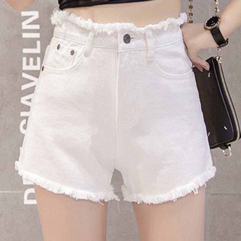 7756265648 Compre Mujeres Hem Fayed Pantalones Cortos Moda Cremallera Mosca Cintura  Alta Jean Shorts Señora Casual Bolsillos Sueltos Sólidos Pantalones Cortos  ...
