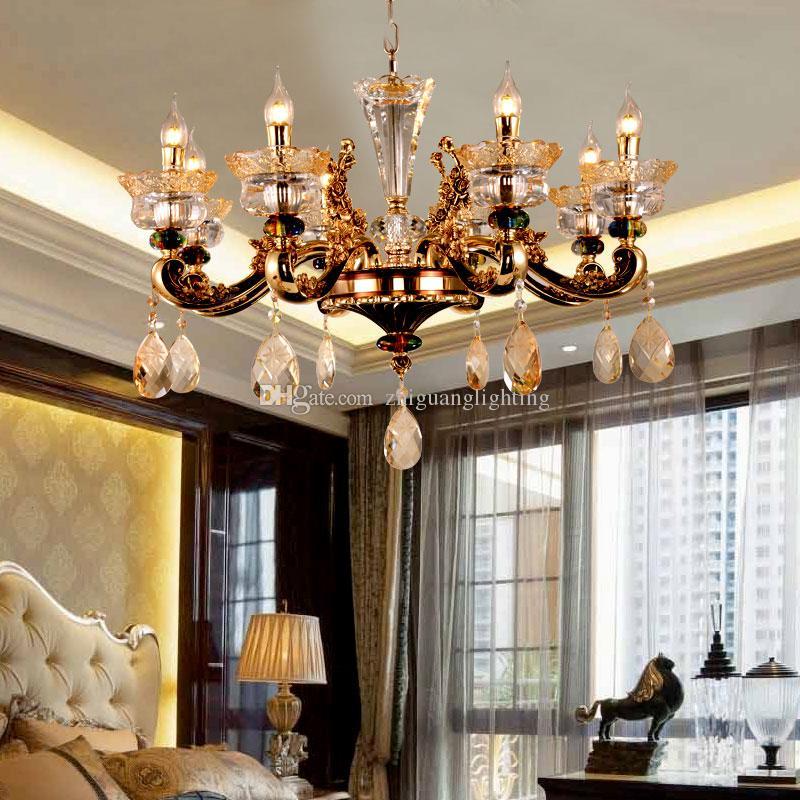 European style crystal chandelier living room chandeliers luxury atmosphere  hotel restaurant bedroom lamp modern crystal lamps