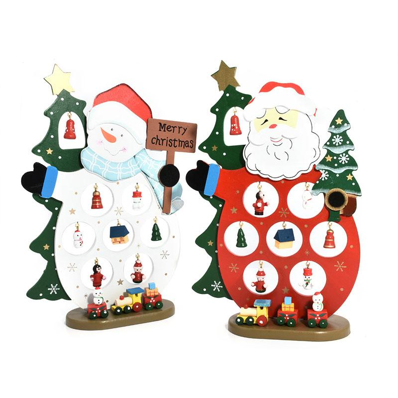 2 Style Color Printed Diy Santa Claus Snowman Trees Wooden Christmas Table Decoration With Ornament New Year Kids Christmas Gift Christmas Ornaments To Buy