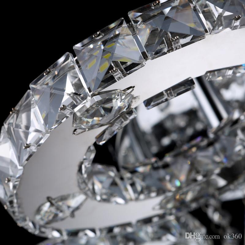 Modern lustre de cristal de aço inoxidável Lustres sala de estar lâmpadas led k9 círculo de cristal Lustres luminária
