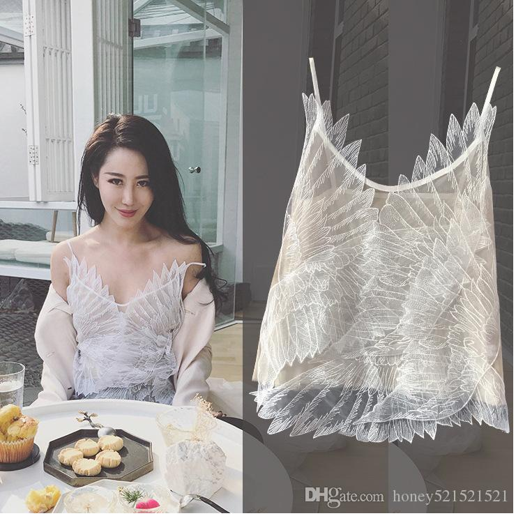 2018 yeni moda kadın seksi 3D tüy kanat patchwork şifon spagetti kayışı tank top yelek kaşkorse S M L
