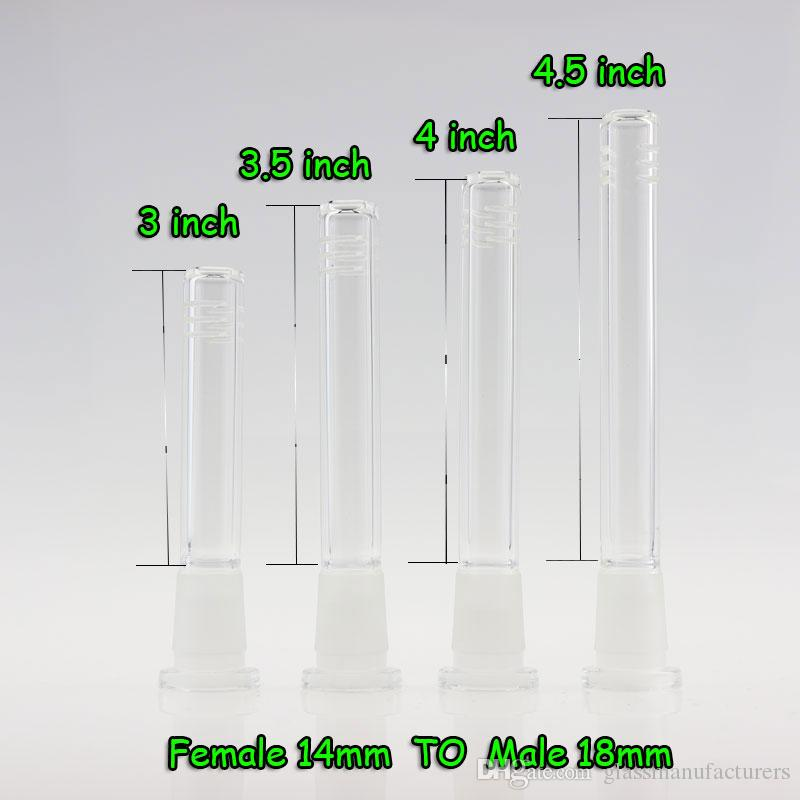Glass Down stem Diffuser 14mm / 14mm,18mm / 18mm, 14mm / 18mm Male And Female Joint Glass Down Stem For Glass Bongs Water Pipe