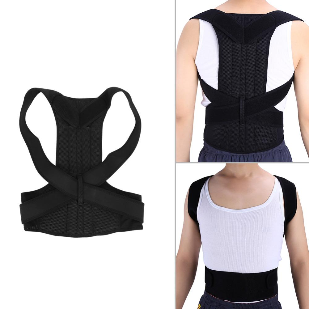 Compre Ajustável Adulto Espartilho Voltar Postura Corrector Terapia Ombro  Lombar Brace Spine Cinto De Suporte De Postura Correção Vest Para Os Homens  ... 31fc8ade34f
