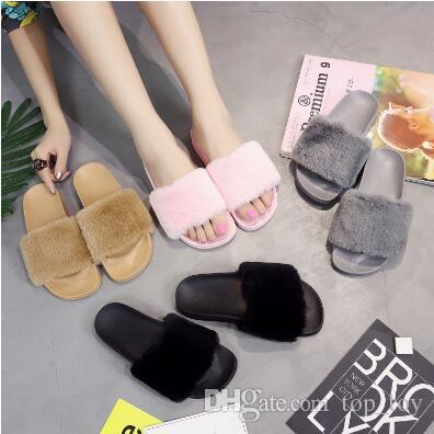cdc3e6d27267 Womens Zapatos Mujer Ladies Slip On Sliders Fluffy Faux Fur Flat Fashion  Female Casual Slipper Flip Flop Sandal  Pair CCA8935 Slipper Sock Slippers  Toddler ...
