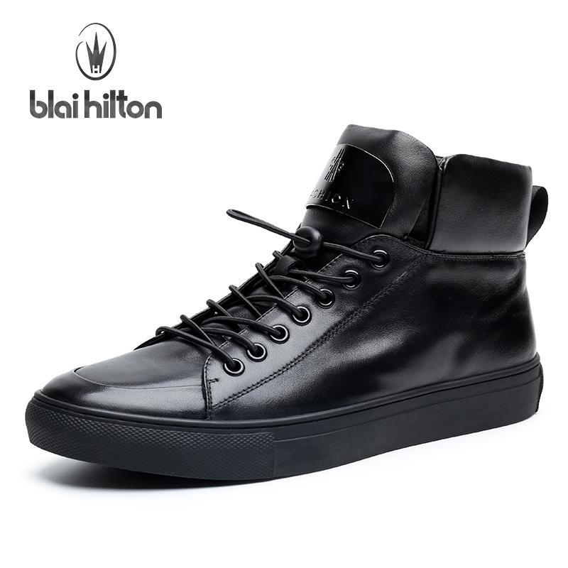 d6503658756e Blai Hilton 2017 New Fashion Spring Autumn Men Shoes Genuine Leather ...