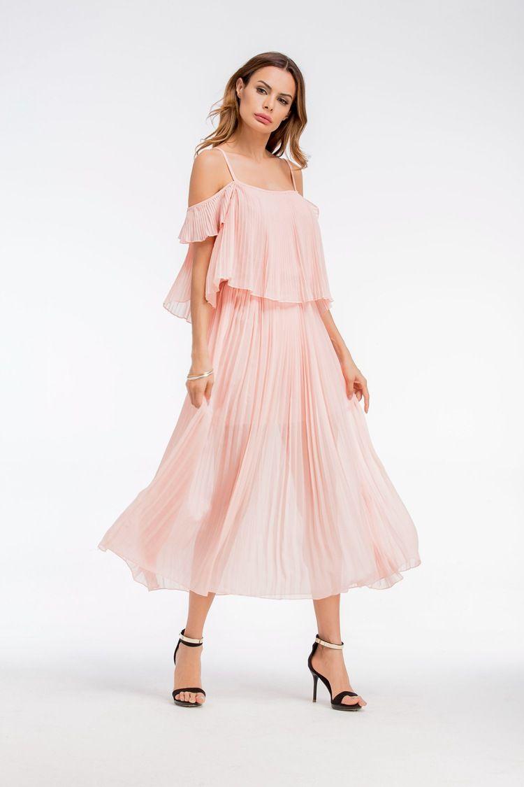 großhandel 2018 neue mode frauen elegante retro slash neck sweet rosa  weißes kleid mode sexy kragen casual strand sommer lange kleider bohe  kleider