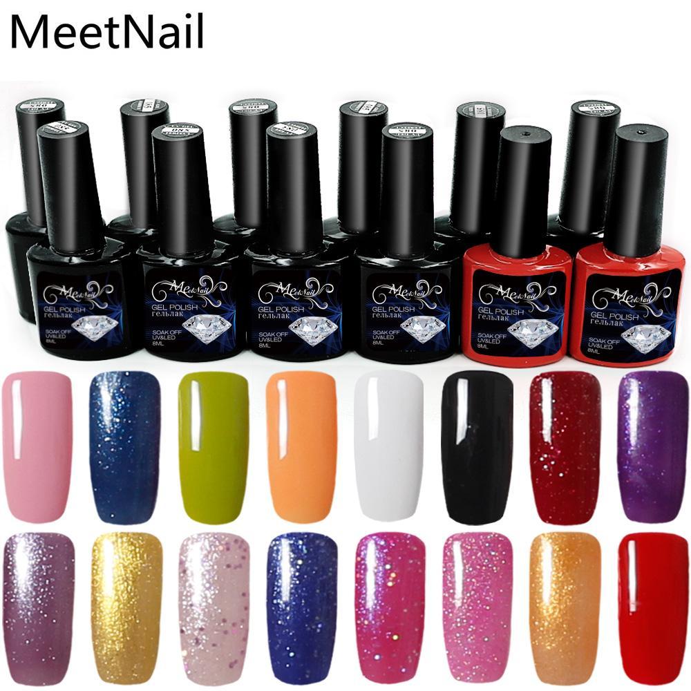 Meetnail Nail Polish Color Gel 10 Bottle + Base Gel + Top Coat ...
