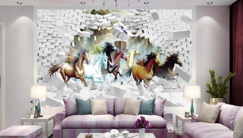 Papier peint photo 3D casser le mur cheval papiers peints à la maison décor chambre salon papier peint 3d stéréoscopique