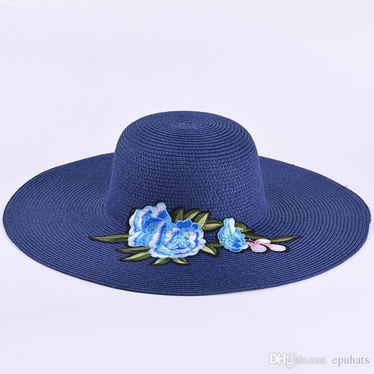 478a282e0ebe5 2018 Embroidery Floral Female Ladies Paper Straw Hat Sun Summer ...