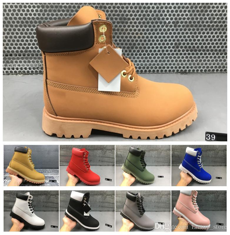 93067ed6dd6 Compre 2018 Botas De Cuero De Invierno Hombres Mujeres Martin Botas  Zapatillas De Correr Para Hombres Zapatillas De Deporte Botines Marrones  Bota De Nieve ...