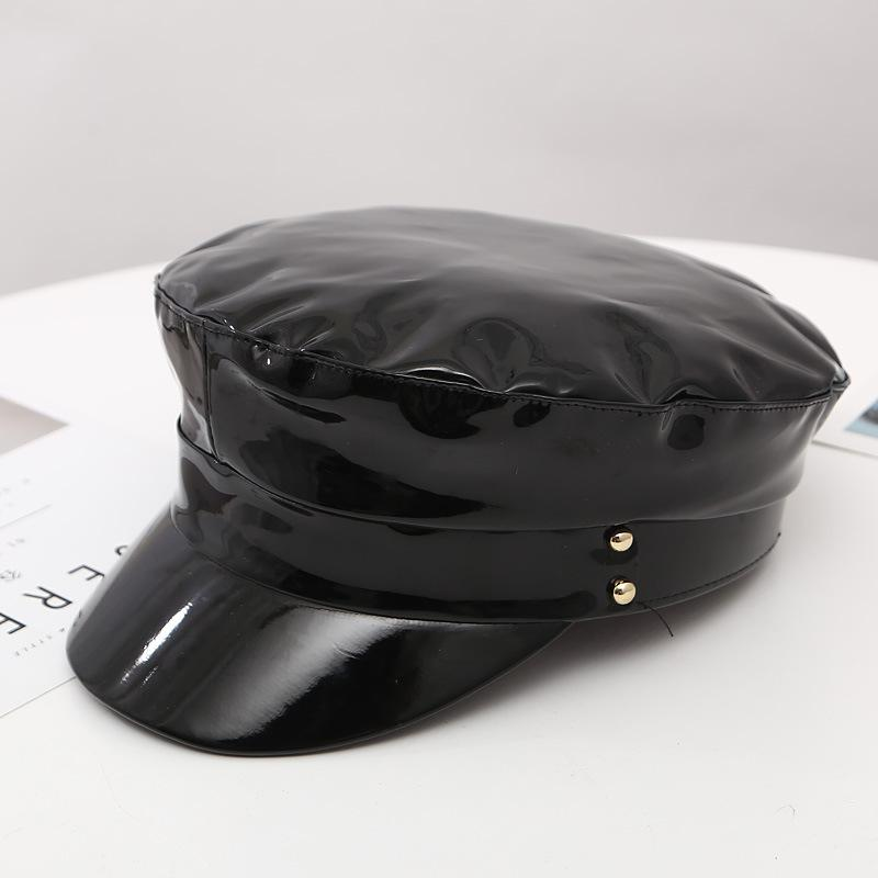 14f7acd53a0 2019 New Winter Fashion Patent Leather Beret Caps High Quality Ladies Hats  Solid Color Flat Top Hat PU Leather Bone Captain Women Cap From  Homejewelry