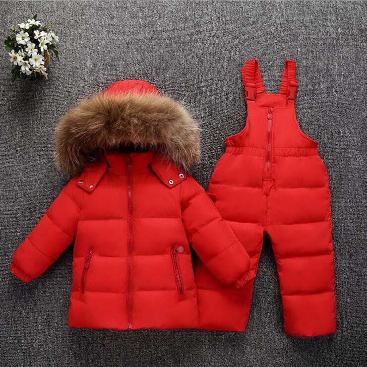 1af6271a420c 2018 New Winter White Duck Down Overalls Children Clothing Sets Ski ...