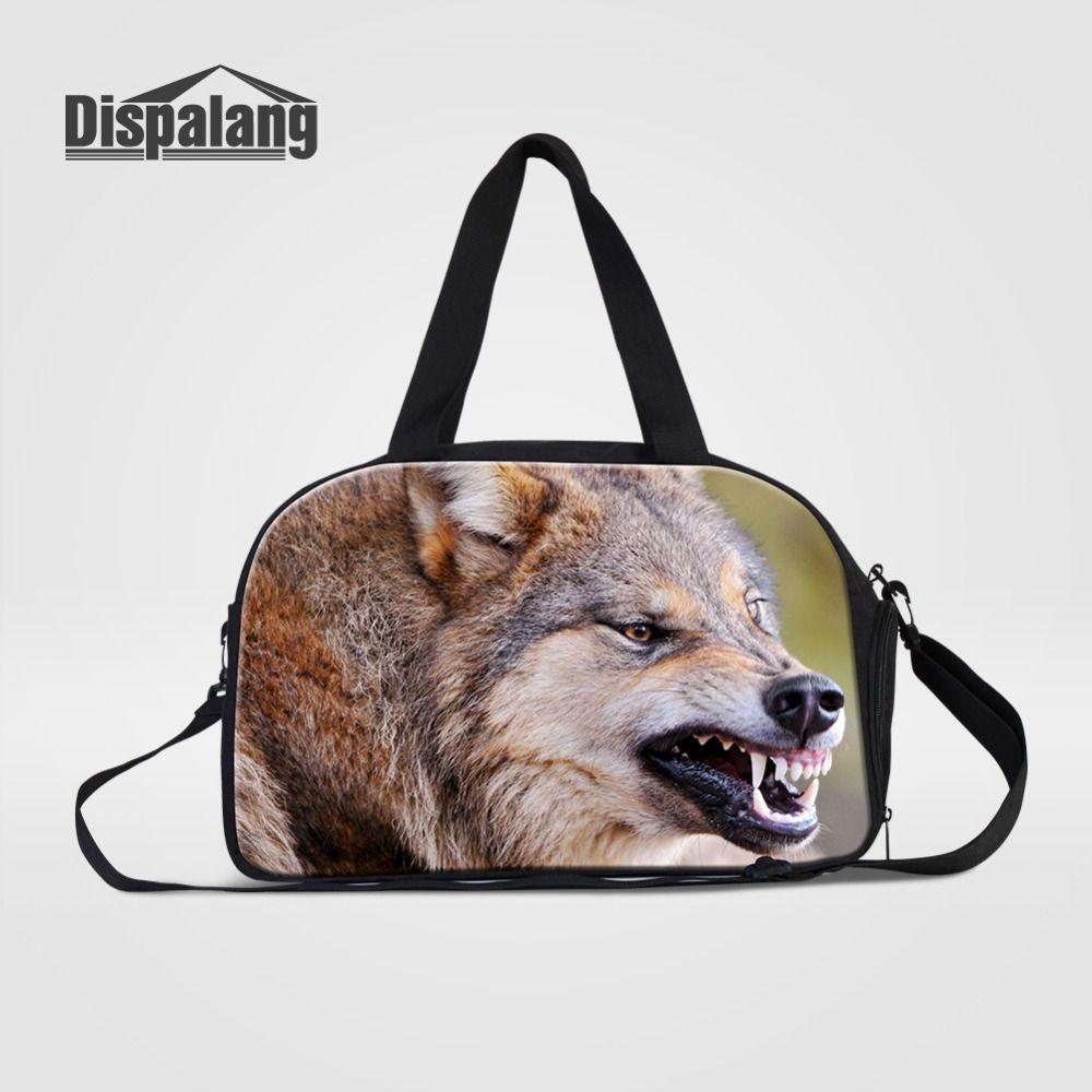 503e2fe65b53 Dispalang Travel Bag Male Large Capacity Lightweight Travel Shoulder Bag  Wolf Print Women Big Portable Duffel Carry-on
