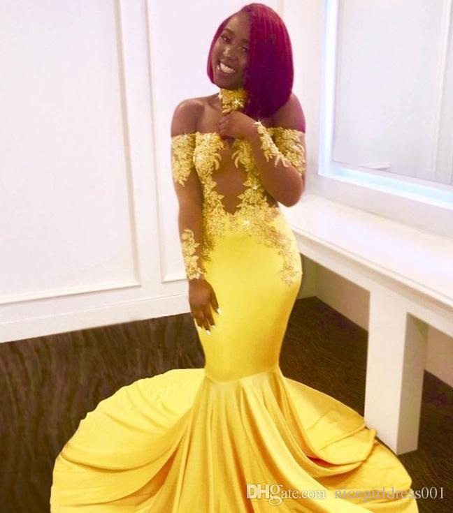 6e109f079c Yellow Long Mermaid Prom Dresses 2018 New Off The Shoulder Long Sleeve Evening  Dress Lace Applique Sweep Strain Party Gowns Custom Made Satin Prom Dresses  ...