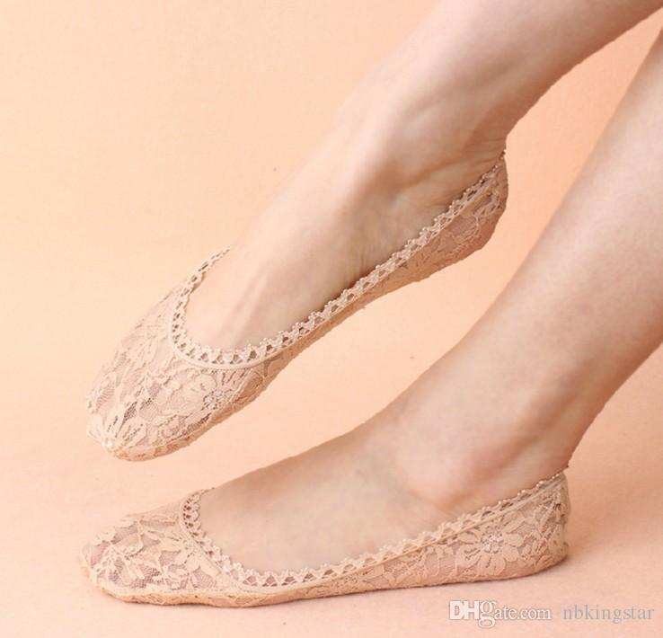 fashion women girls black nude lace floral sock slippers lady wedding socks for heels
