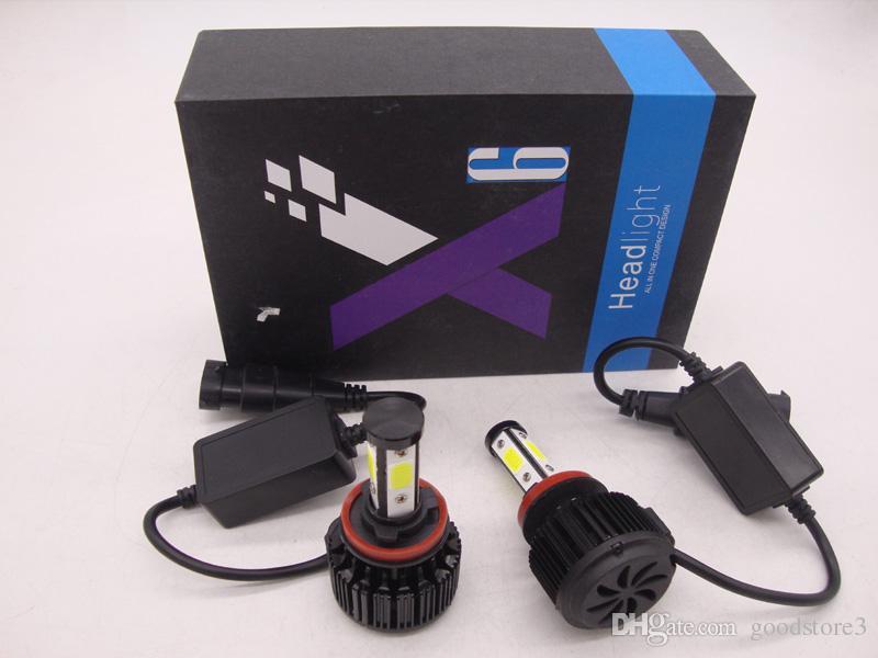 400W 9007 9006 9005 H1 H4 H7 H11 Philips Upgrade 4-Sides LED Car Headlights  KIT Bulbs 40000LM vs Halogen Xenon