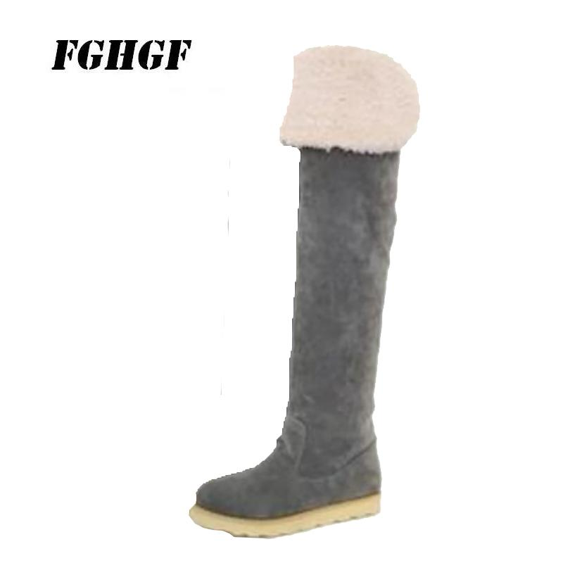 555066fcb71 Package Mail 2018 Winter The New Round Head Lady S Flat Boots Ground Yarn  Long Cotton Boots Children Of Over The Knee Buy Shoes Online Suede Boots  From ...