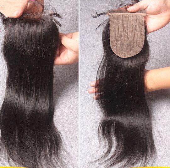 7A Grade Péruvienne Vierge Cheveux Soie Droite Avec Fermeture Vierge Péruvienne 4x4 Dentelle Top Fermeture Avec Des Cheveux Humains Weave Bundles