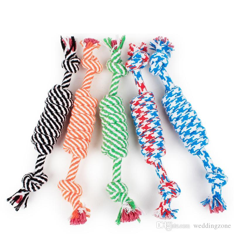 2020 Dog Rope Fun Pet Chew Knot Toy Cotton Stripe Rope Dog Toy Durable High Quality Dog