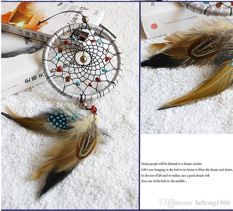 Silvercolor Naturel Couleur Pierre Dreamcatcher Artisanat Fabrication Creative Carillon Carillon Cadeau Avec Plume Dream Catcher Décor Pendentif 8 5xr Y