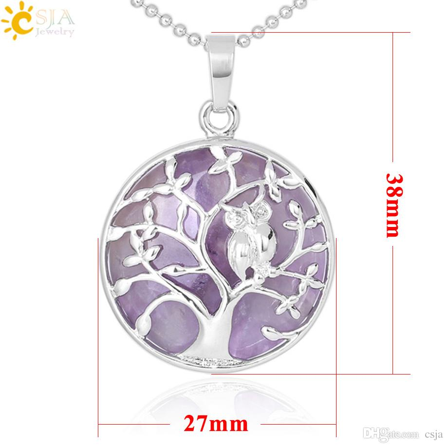CSJA New Birds Owl Necklace Tree of Life Pendant Natural Stone Beads Rose Quartz White Romantic Crystal Jewelry Gift Lover Handcraft F343 B