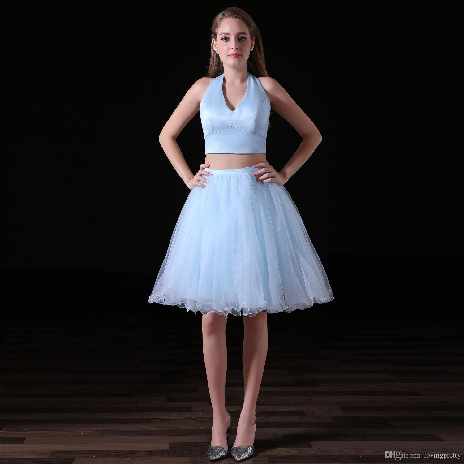 a28af417b0 JaneVini Elegant Two Piece Dress Tulle Short Homecoming A Line Sexy ...